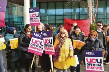 Bradford college workers on strike, March 2019, photo by Iain Dalton