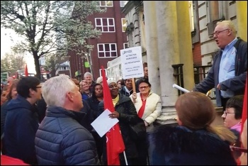Unite Greenwich branch secretary and Socialist Party member Danny Hoggan addresses the council lobby, 27.3.19, photo by Claire Laker-Mansfield