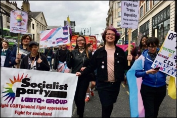 Leeds Socialist Party members on the city's second annual Trans Pride march, 31.3.19, photo Leeds Socialist Party