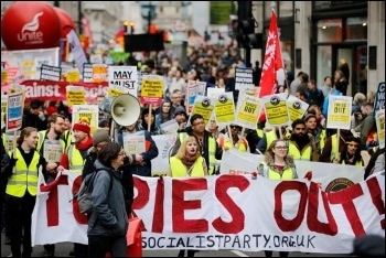 Socialist Party members march to say Tories out! photo Mathan Nathan