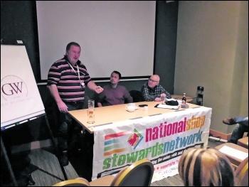 Honda union rep Donald McDougall speaking at the