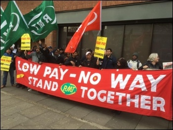 Cleaners on the London Overground strike against low pay on 5 April, photo London Socialist Party
