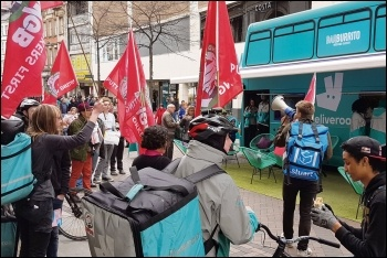Deliveroo workers organised by IWGB protesting at the firm's Nottingham roadshow, 13.4.19, photo by Pete Watson