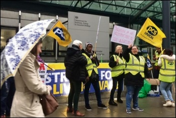 Cleaners organised by PCS on strike at BEIS, 8.4.19, photo London Socialist Party