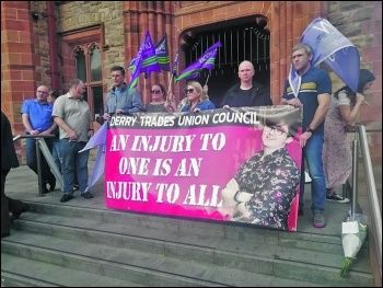 Derry Trades Council organised a 1,000-strong protest against Lyra McKee's killing, photo Foyle Socialist Party