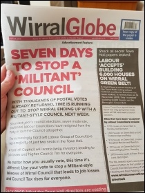 The anti-Militant wraparound on the Wirral Globe