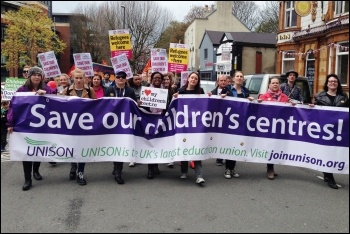 Derbyshire children's centre workers marching in 2016 against plans by the then Labour council to close dozens of them - tens of thousands signed petitions but the campaign did no succeed - Labour was booted out a year later, photo by Chesterfield Sociali