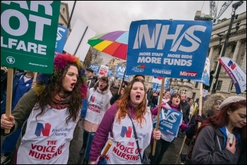 Nurses marching for the NHS, photo by Paul Mattsson