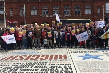 Usdaw conference delegates protesting against Tommy Robinson, 6.5.19, photo by Usdaw Activist