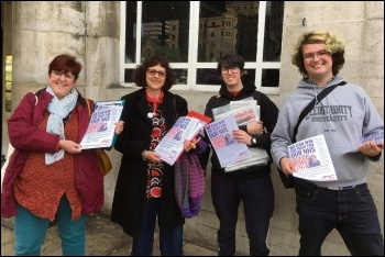 Socialist Party members outside SOR conference, 28-30.4.19