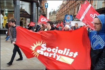 Socialist Party members on the Leeds May Day march, 4.5.19, photo Leeds Socialist Party