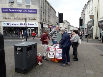 Socialist Party NHS campaign stall in Newton Abbot 18 May, photo Sean Brogan