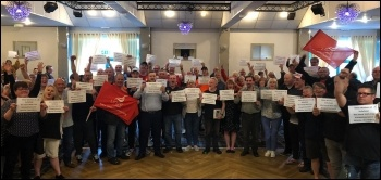 Strike meeting of Mitie workers at Sellafield nuclear power plant, photo