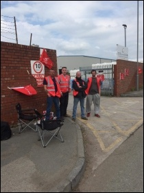 Colloids workers on strike in Kirkby May 2019, photo Neill Dunne, photo Neill Dunne