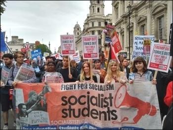 Socialist Students bloc on the anti-Trump demo, 4.6.19, photo Naomi Byron