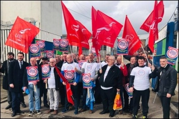 Caley workers protest against the deport's closure, photo by Unite Scotland