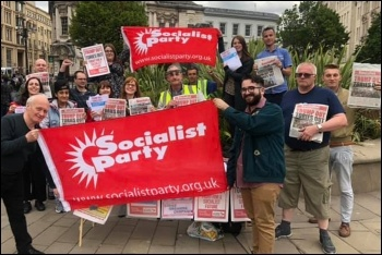 Protesting against Trump in Birmingham, 3.6.19, photo by Birmingham Socialist Party