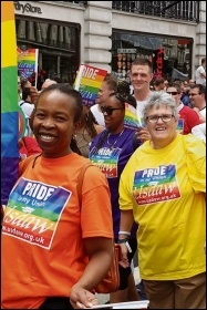 Members of retail union Usdaw marching for LGBT+ rights
