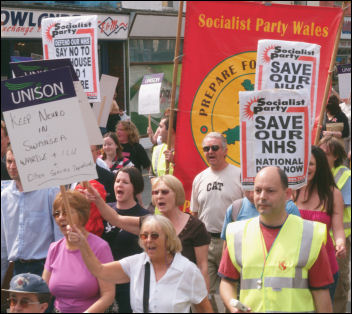Marching through Swansea to save NHS services, photo M Kamish