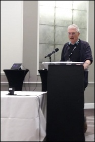Socialist Party member Kevin Parslow addressing the 2019 trade union councils' congress, photo by Iain Dalton