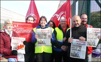 Mitie strikers at Sellafield with copies of the Socialist, 7.6.19, photo by Robert Charlesworth