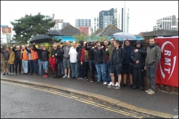South Western Railway workers in the RMT on strike in Bournemouth, 18.6.19, photo by Jane Ward