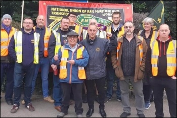 Bluestar bus drivers on strike in Southampton, supported by RMT general secretary candidate Sean Hoyle, 18.6.19, photo by Nick Chaffey
