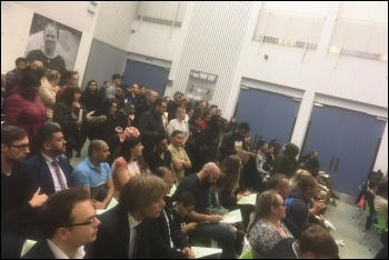 Around 150 angry residents attended the emergency meeting of Barking Reach Residents' Association after the 9 June fire, 13.6.19, photo by Ian Pattison