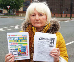 Socialist Party member Janet Gibson advertising NSSN conference at a protest of  steel construction workers outside a Siemans factory in Lincoln