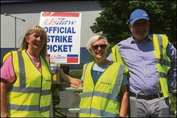 Usdaw president and Socialist Party member Amy Murphy joins Sainsbury's strikers at Waltham Point, 27.6.19, photo by Usdaw Activist