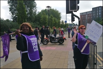 Birmingham University support workers on strike, 28.6.19, photo by Nick Hart