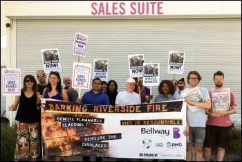 Barking Riverside residents protest outside the estate sales office, 29.6.19, photo Ian Pattison