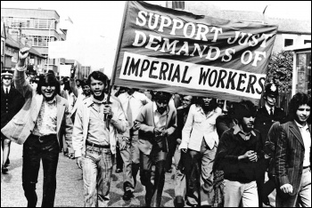 Striking Asian workers at Imperial Typewriters march through Leicester, photo The People's Flag/Channel 4