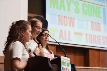 Youth climate strikers addressing the NSSN conference, 6.7.19, photo by Mary Finch