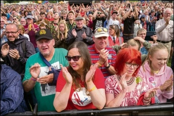 Part of the crowd listening to speeches at the Durham Miners' Gala, 13.7.19, photo by Paul Mattsson