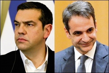 Ousted Syriza leader Tsipras (left) capitulated to capitalist austerity; new Greek premier Mitsotakis (right) is a neoliberal ex-banker, photos by kremlin.ru/CC