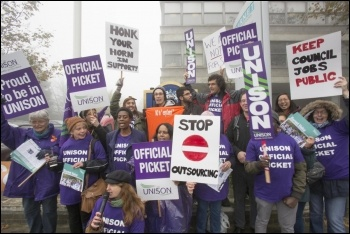 Barnet Council workers on strike against outsourcing in 2015, photo by Socialist Party