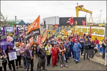 Workers occupying Harland and Wolff shipyard, Belfast, July 2019