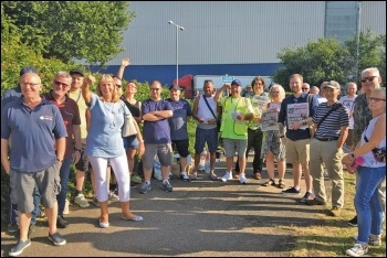 Socialist Party members, including Usdaw president Amy Murphy (fourth from left), supporting striking Waltham Point Sainsbury's workers, 25.7.19, photo by Sarah Sachs-Eldridge