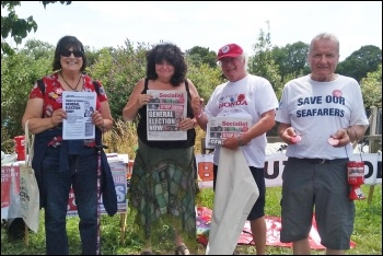 Socialist Party members at Tolpuddle 2019, photo by Jane Ward