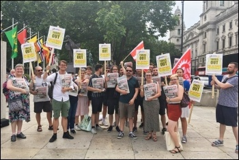 Socialist Party members sold over 80 copies of the Socialist across the two protests against Boris Johnson on 10 and 11 July 2019, photo by Ian Pattison