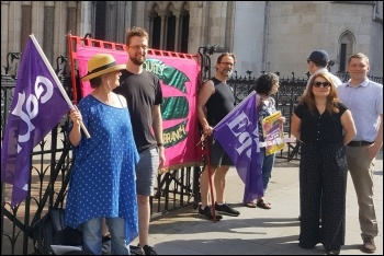Equity members on a protest against Universal Credit outside the High Court, 17.7.19, photo NSSN