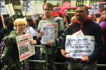 Hundreds of Kashmiri people living in Britain protested outside the Indian High Commission on 10 August 2019. The Socialist Party supported the protest and handed out a joint statement by our sister parties in the Committee for a Workers' International, p