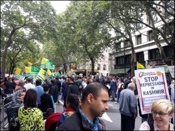 Mass protest outside the Indian High Commission on 15.8.19 over repression in Kashmir, photo Scott Jones