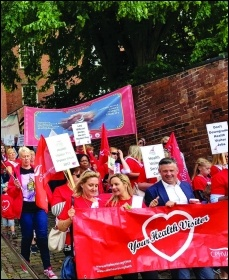 Lincolnshire health visitors' solidarity rally August 2019, photo Lindsey Morgan