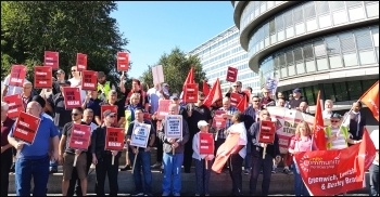 Unite London bus drivers demonstrate outside City Hall on Thursday 29th August.  Drivers want shorter hours without loss of pay and better working conditions., photo Isai Priya