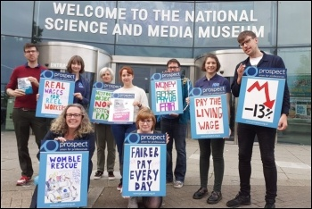 National Science and Media Museum staff on strike in Bradford, 30.8.19, photo by Iain Dalton