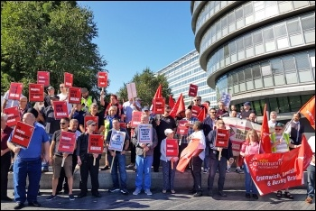 London bus workers protesting outside City Hall, 29.8.19, photo by Isai Priya