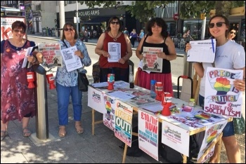 Socialist Party members at Southampton Pride, 24.8.19, photo by Southampton Socialist Party