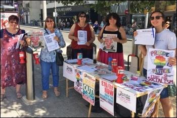Socialist Party members at Southampton Pride, 24.8.19, photo by Southampton Socialist Party